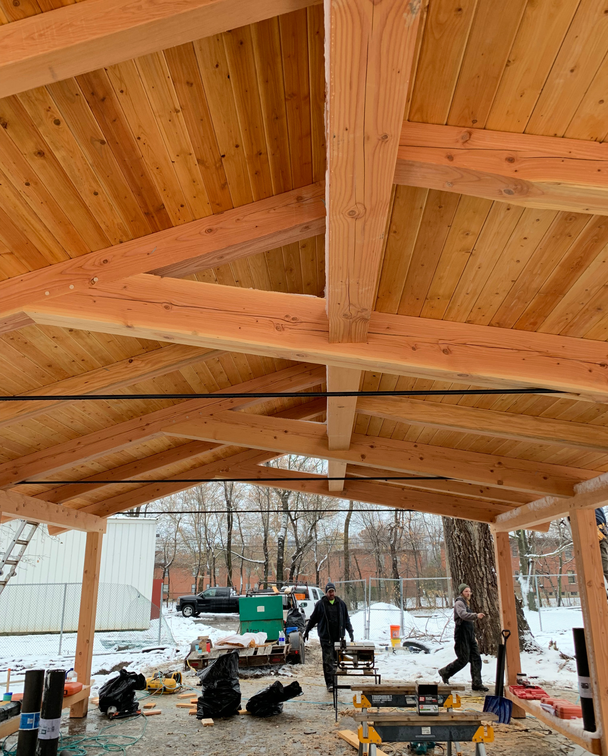 Our construction team recently finished installing t&g on the pavilion.
