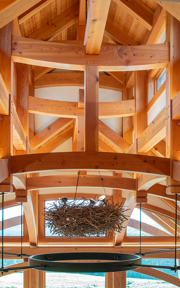 Timberframes manifest a balance between the wholesome power of wood, the beauty of what can be done with it, through the craft and skill of the joinery and embellishments.