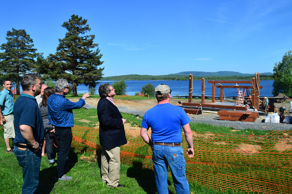 Onlookers, including the bandshell designer, Andrew Chary Architect, watched our team assemble the frame on raising day. (Image and more of the story from the Adirondack Daily Enterprise.)