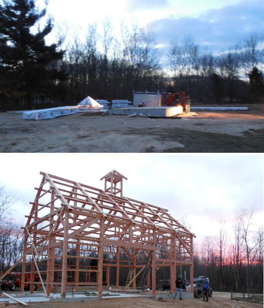 Done in a day. While working with our west coast timber frame crew, Drake sent us a picture at sunrise and another at sunset from a job site in Michigan. After a full day of work, the resulting timber frame barn spans 28′ x 42′ allowing room for a workshop, storage, and regular garage.