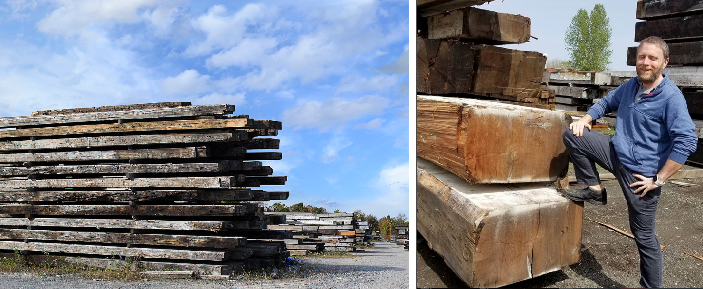 Getting team members to pose for a photo is much easier when they're surrounded by big reclaimed timbers in our Farmington, NY or McMinnville OR yards.