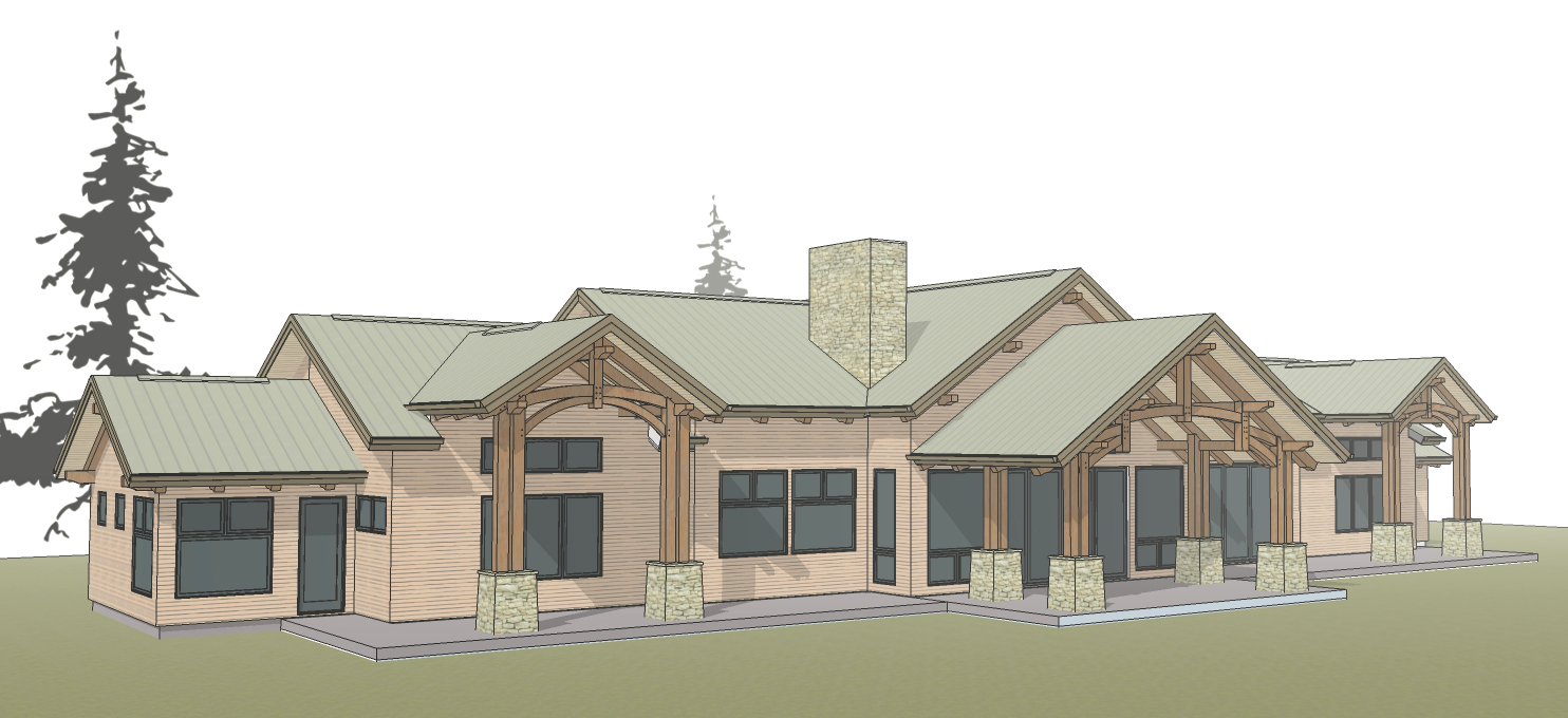 Designs for Tom and Karen's family lodge near Fresno include space for many.