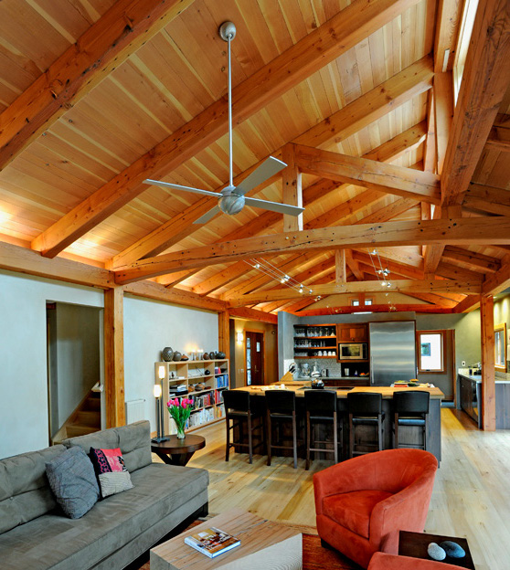 Fine Homebuilding House of the Year (2011), The Vermont Street Project in Portland, Oregon features Douglas fir timbers salvaged from the old Mersman Table factory.
