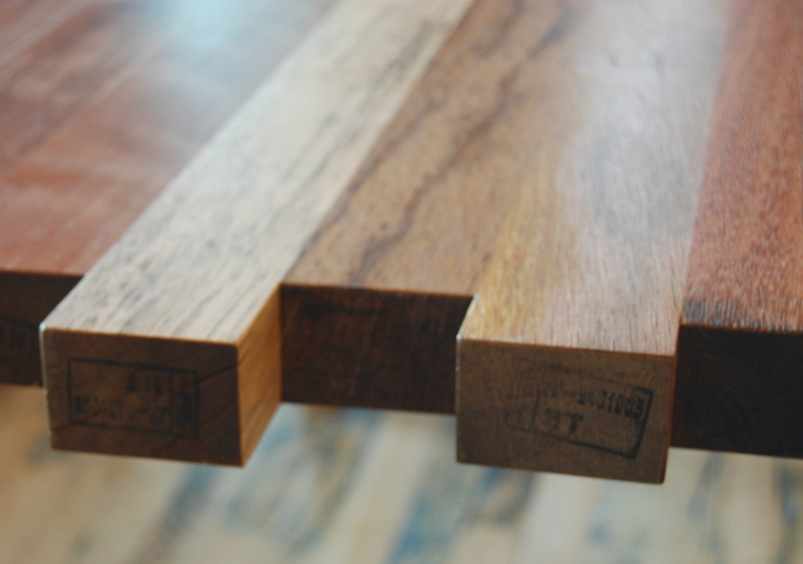 The original stamps marking the reclaimed exotic hardwoods are pest free.