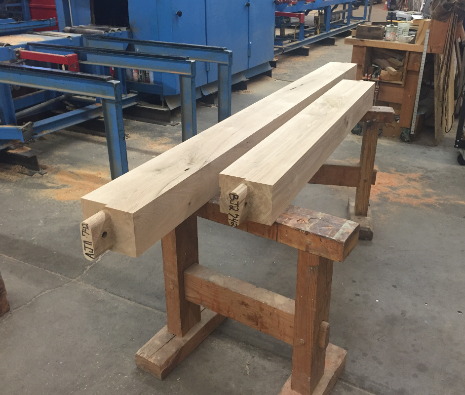 In process in our timber frame shop, these oak timbers for this PA project are coded and ready for finishing touches.
