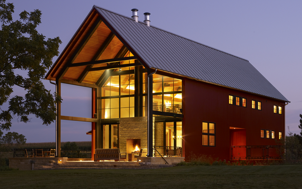 We raised the simple and clean lined trusses for this Wisconsin project in 2011. Situated on a 200 acre farm, the home reflects the surrounding agrarian style, but has a modern, open floor plan with expansive views created using advanced Eco-conscious, sustainable building materials and mechanical systems. Pretty neat mixture. We raised this with our friends at Traditional Carpentry and design partners Northworks Architects.